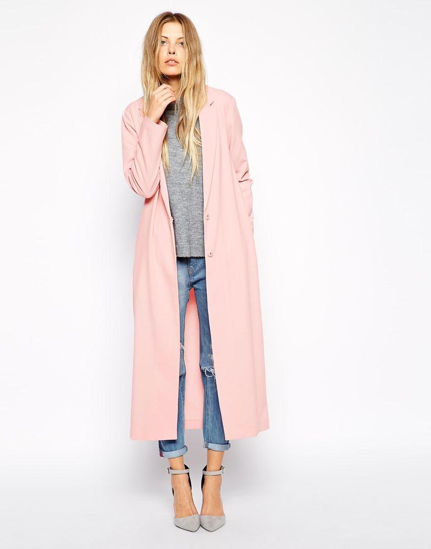 Veste longue rose pale femme